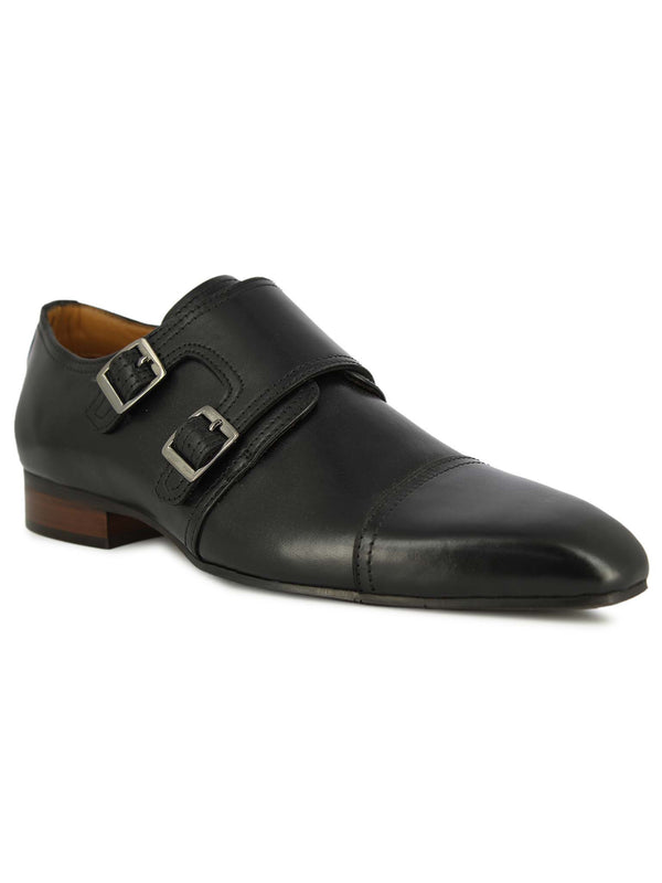 Alberto Torresi Men Herald Black Double Monk Straps