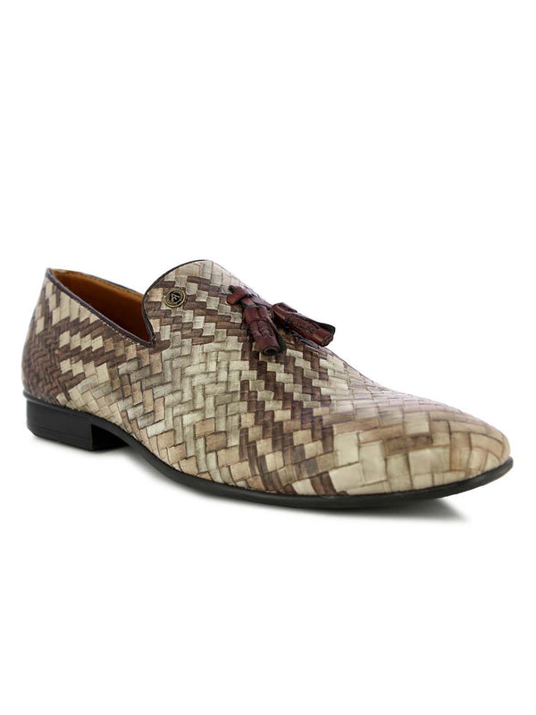 Alberto Torresi Men's Fleur brown+beige tassel slip on shoes