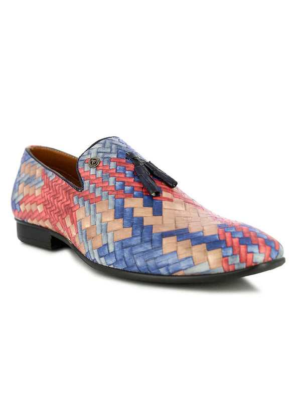 Alberto Torresi Men's Fleur red+blue tassel slip on shoes