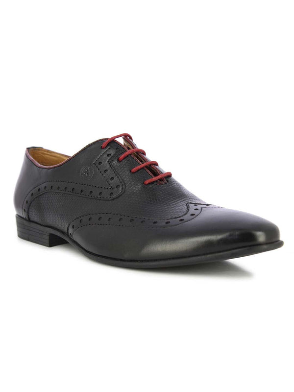 Alberto Torresi Men's Camden Black and Red Formal Shoes