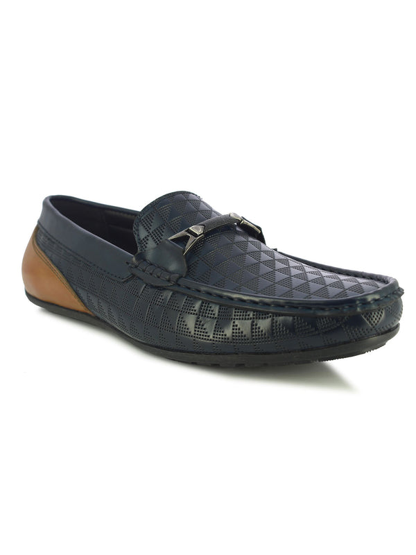 Alberto Torresi Men's Lyon Blue and Tan Buckle Loafers