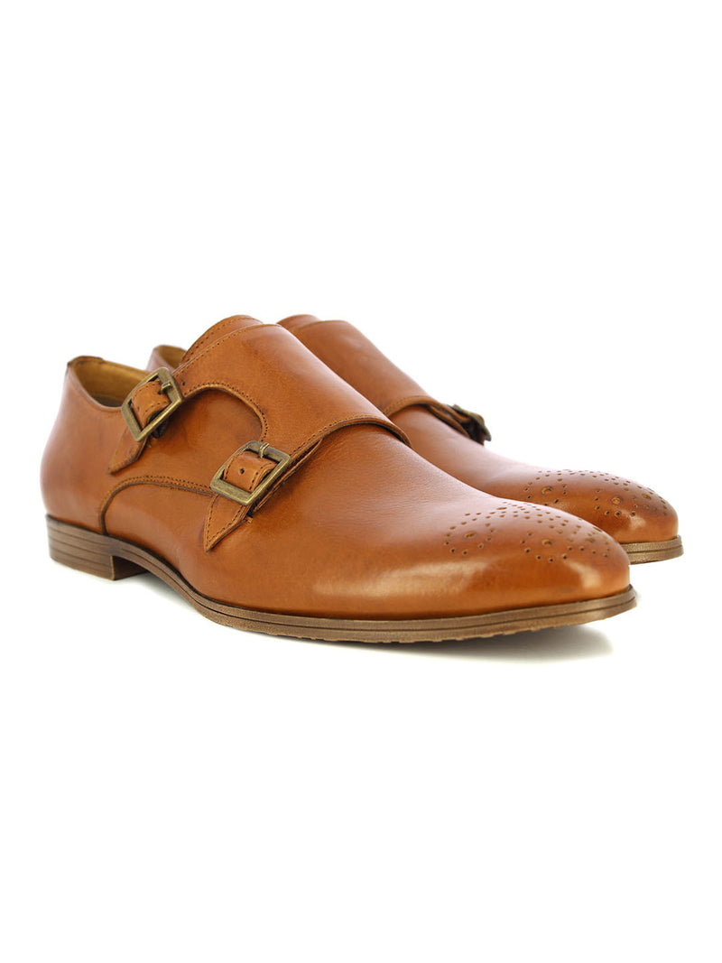 Alberto Torresi Men's Toro Tan Double Monk Straps