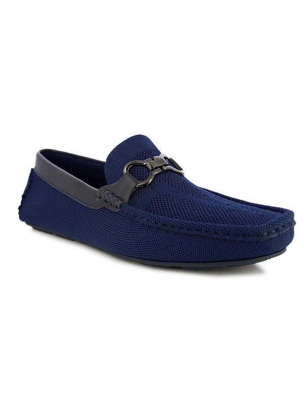 Alberto Torresi Men's Embry Blue buckled loafers
