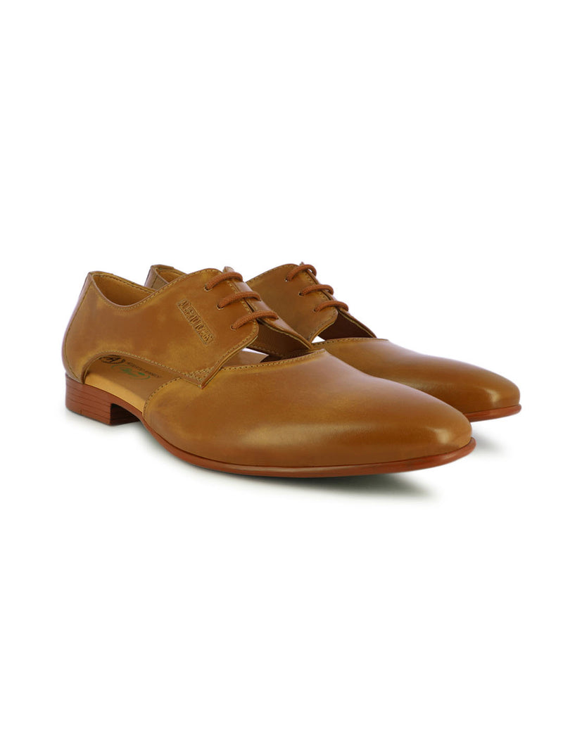 Alberto Torresi Men's Theodore cut-out Tan Oxfords