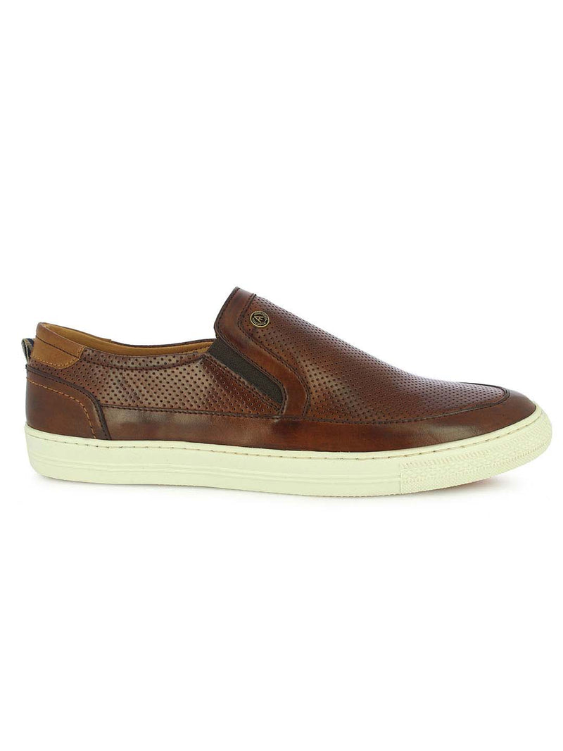 Alberto Torresi Men's Destin Brown and Tan Textured Slip-ons