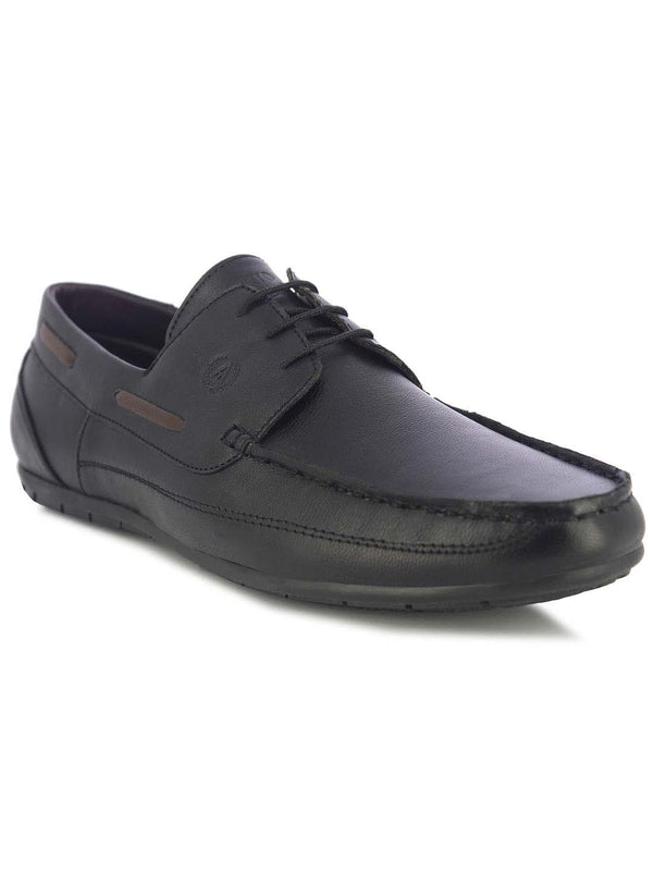 Alberto Torresi Moore Men's Black Boat Shoes