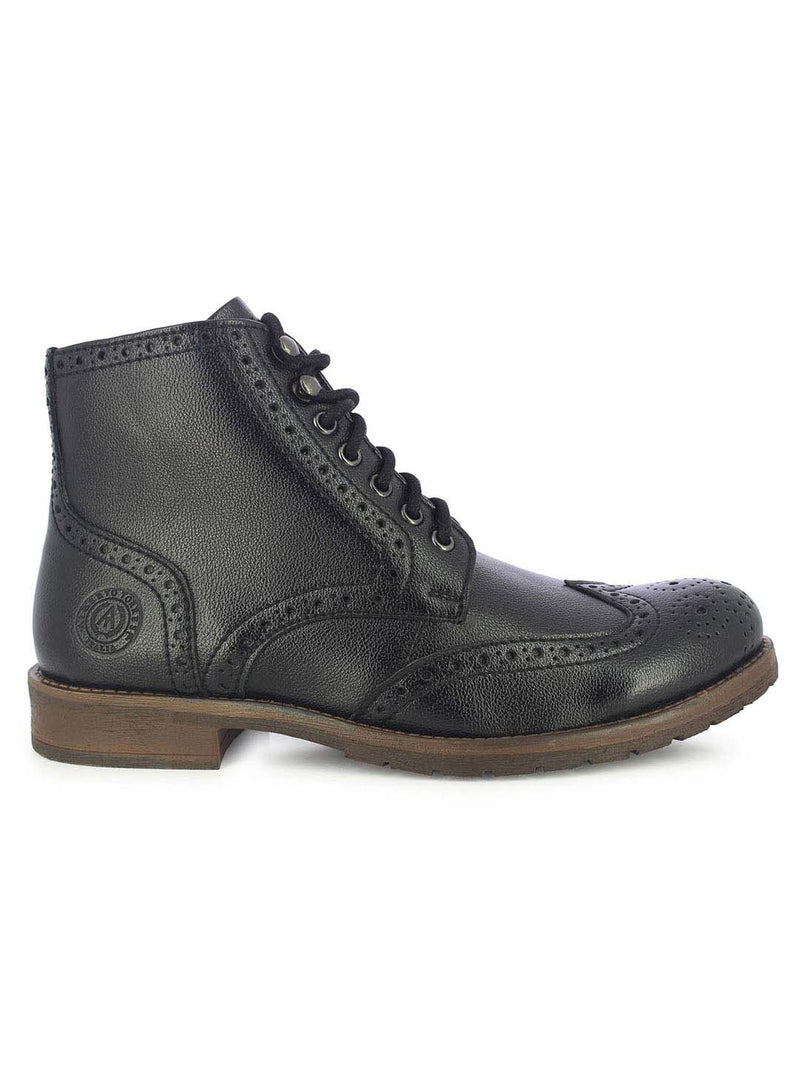 Alberto Torresi Men's Friar Black Brogue Boots