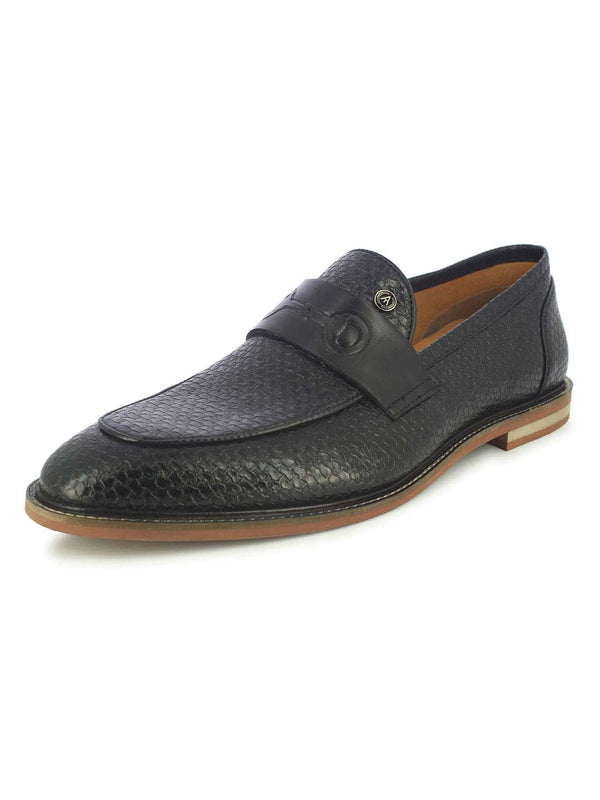 Alberto Torresi Alberta Men's Black Buckles Loafers