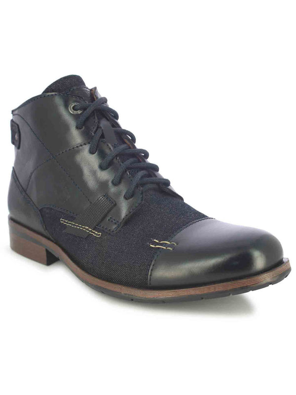 Alberto Torresi Barka Men's Black & Navy High-Top Boots