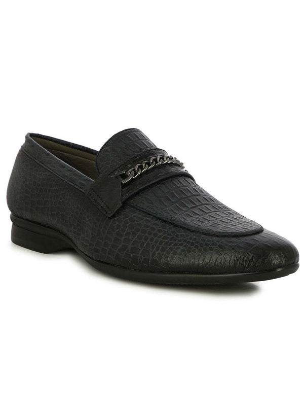 Alberto Torresi Bilbao Men's Navy Croco  Loafers