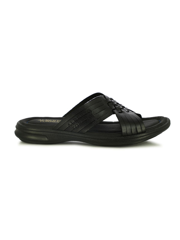 Ramzy Black Cross Band Slippers
