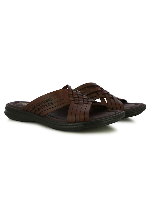 Ramzy Brown Cross Band Slippers