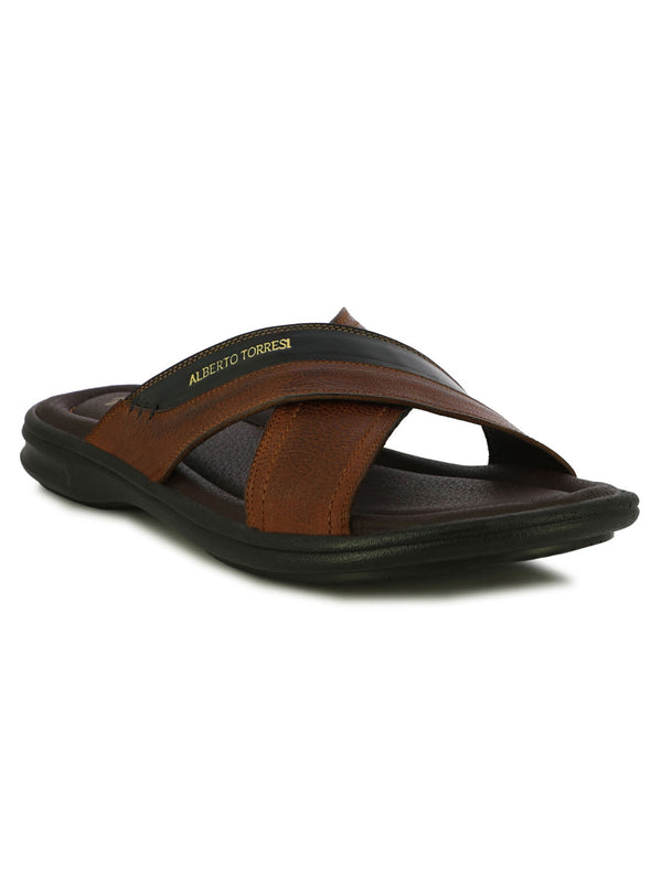 Sterley Cognac Wide Criss-Crop Strap Slippers