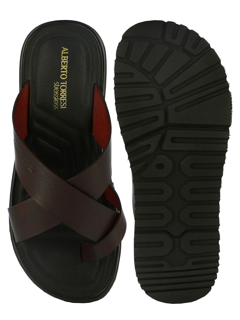 Carrie Red Criss-Cross Strap Slippers