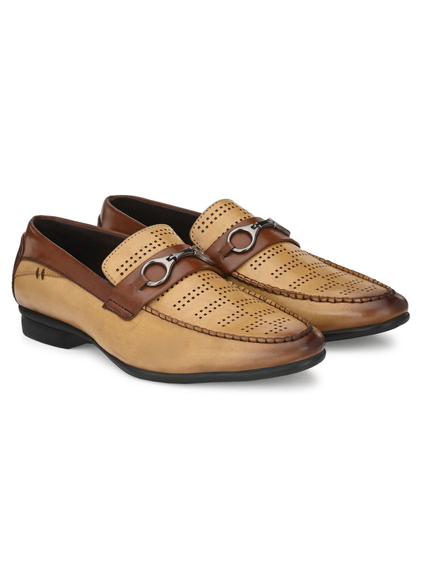 Mike Men's Casual Beige Buckled Loafers