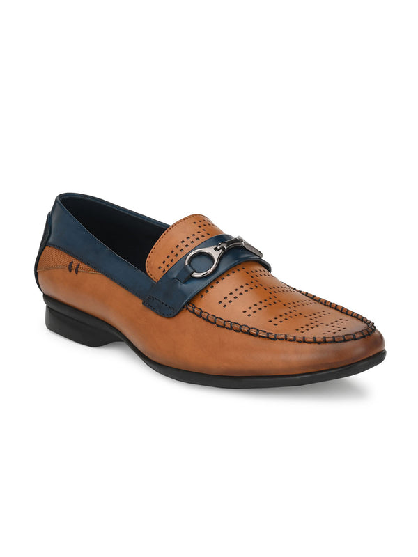 Mike Men's Casual Tan Buckled Loafers