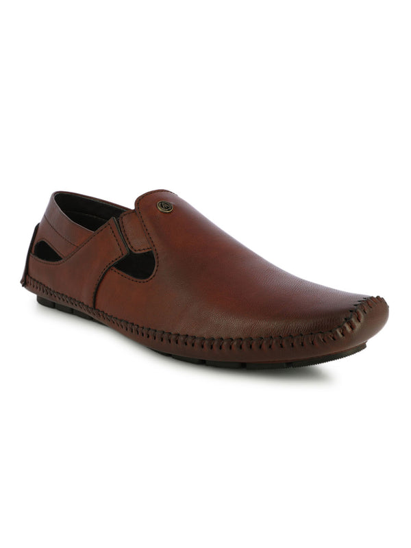 Bordo Synthetic Leather Sandals For Urbane Men