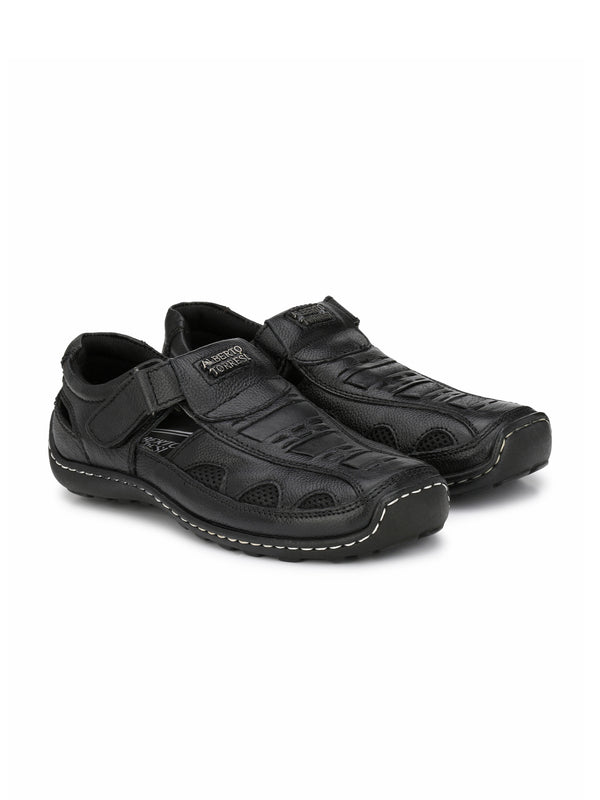 Alberto Torresi Antonio Black Leather Sandals