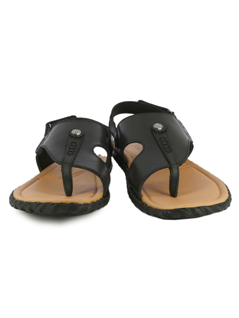 Black Unique Leather Slippers For Men