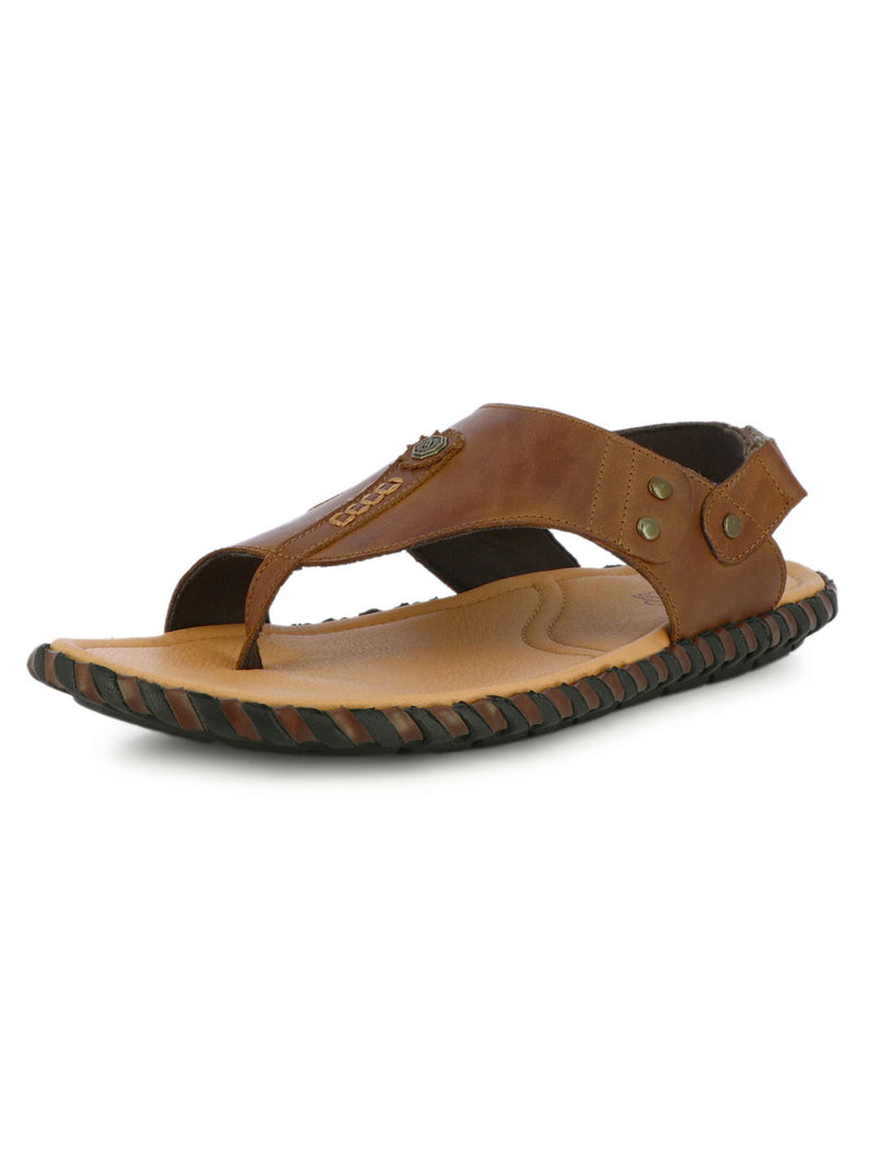 Men's Leather Slippers In Tan