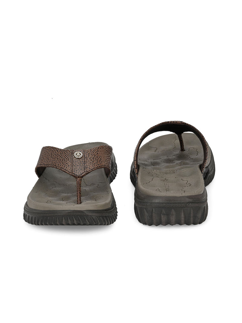 Men's Leather Slippers In Brown With Thick Sole