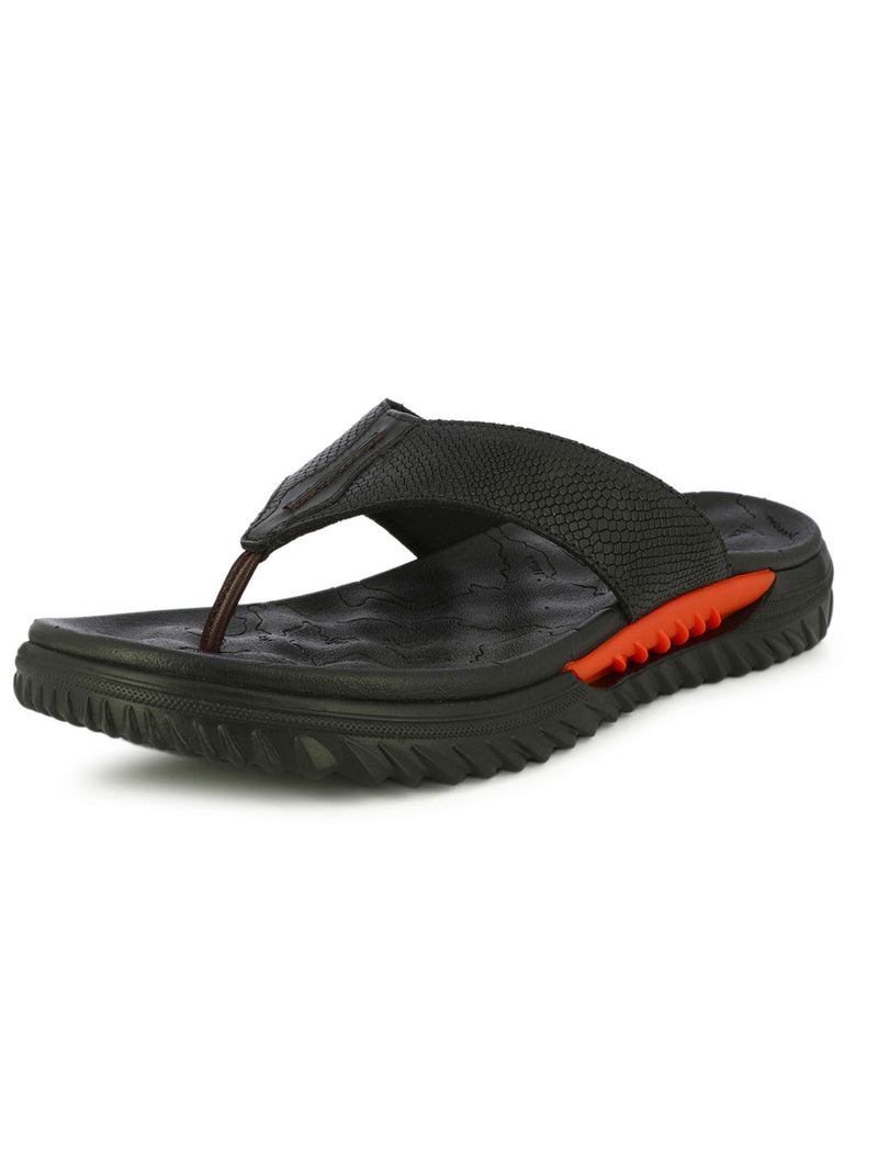 Black Genuine Leather Flip Flops For Men