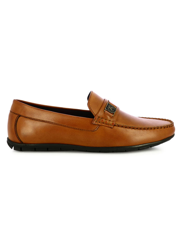 Tan Slip On Leather Loafer Shoes For Men