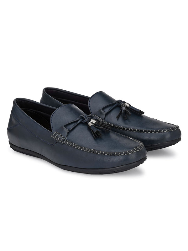 Navy tassel leather loafer shoes for men