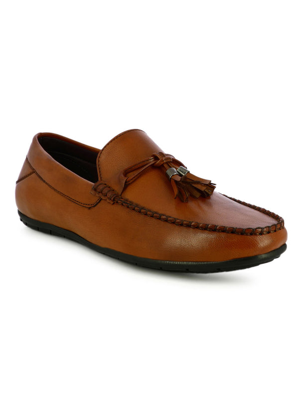 Tan Tassel Leather Loafer Shoes For Men