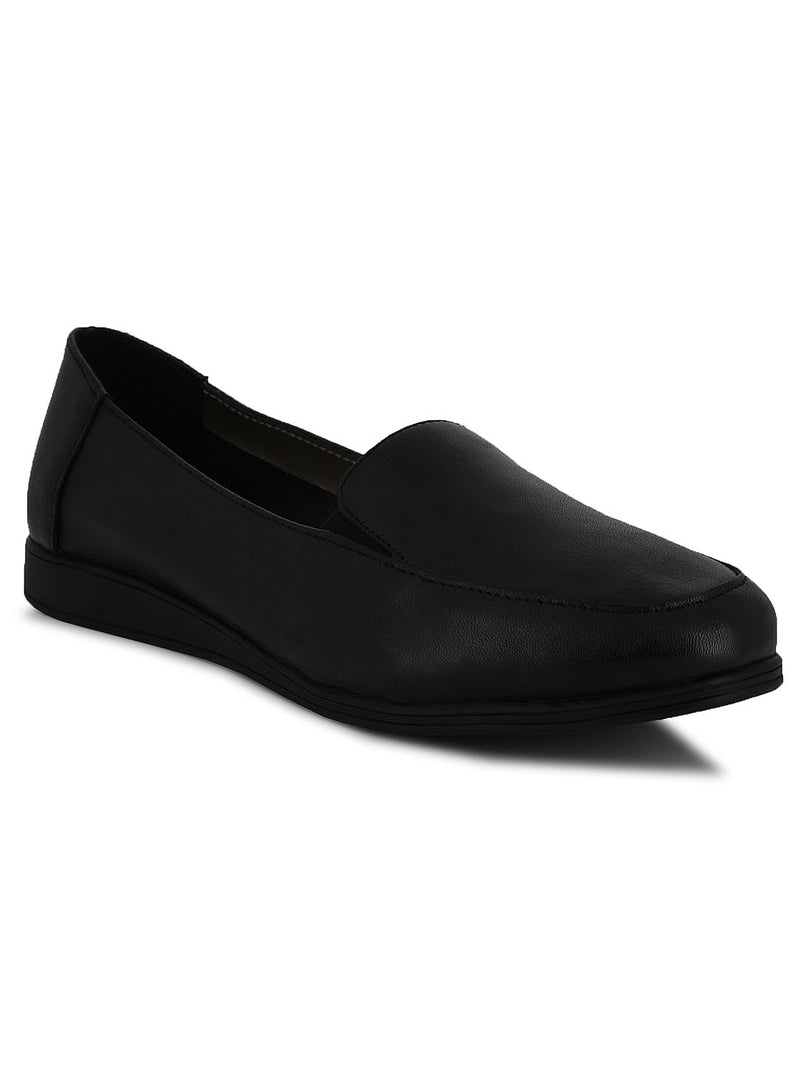 Soothe Black Leather Slip-Ons