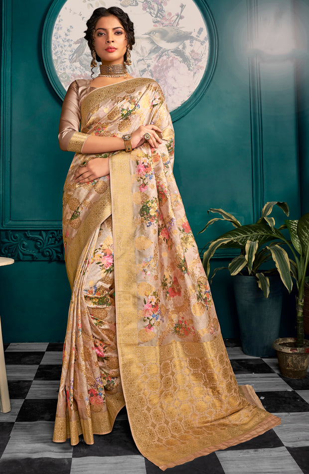Art Silk Woven Digital Saree