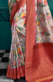 Art Silk Satin Finish Saree In Digital Print