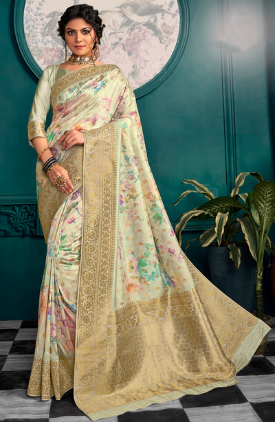 Gold Traditional Weave Digital Print Saree