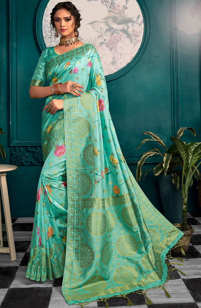 Sea Green Art Silk Woven Digital Printed Saree