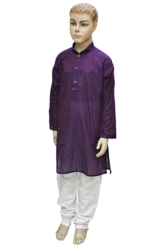 Purple Mangalgiri Cotton Kurta Pyjama