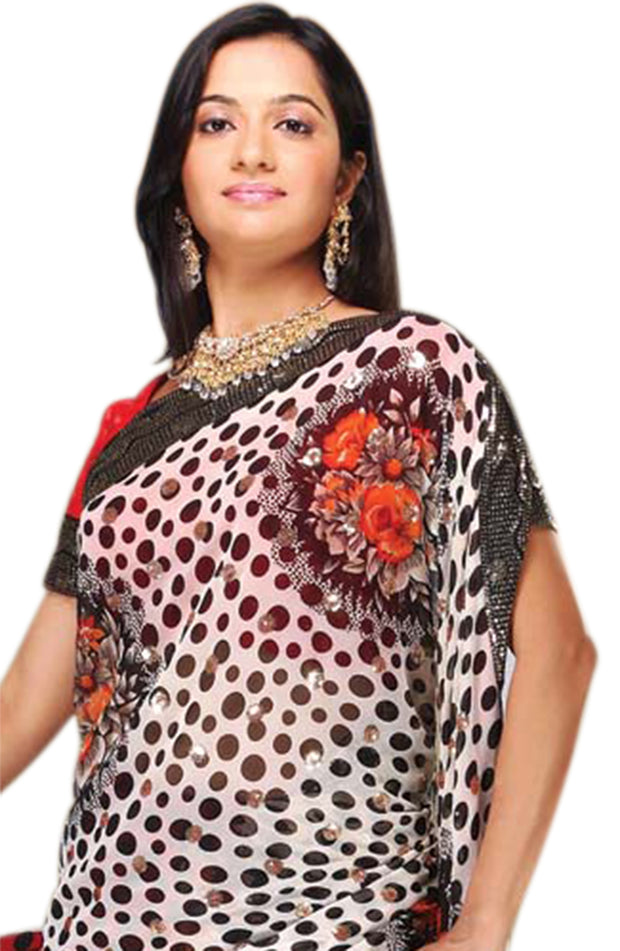 BLACK & RED DOTTED CHIFFON SAREE