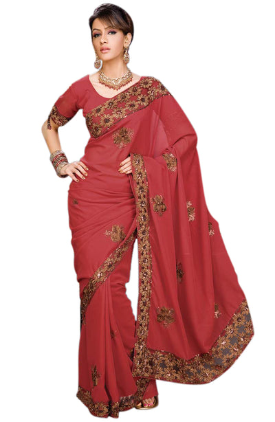 CHIFFON RIBBON AND SEQUINCE SAREE