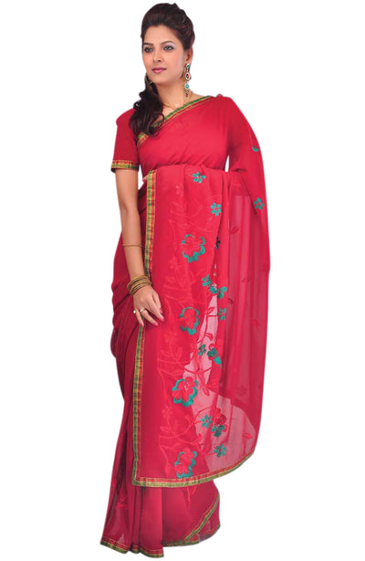 RESHAM EMBROIDERED CHIFFON SAREE