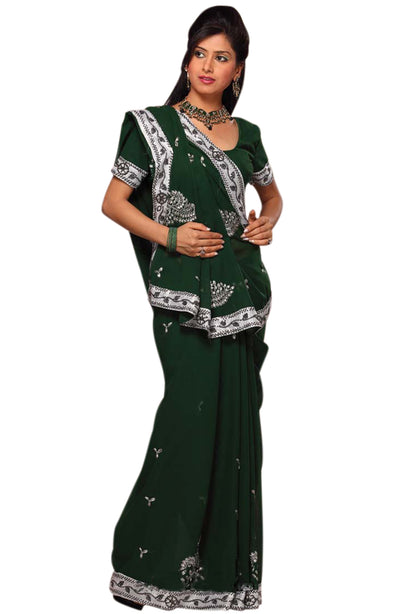 EVERGREEN CHIFFON EMBD SAREE