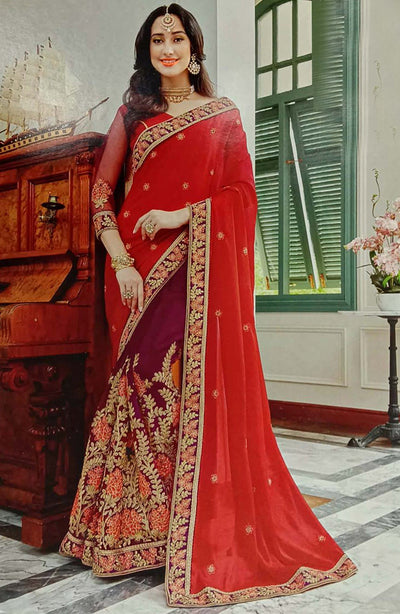 Half In Half Aari Embroidered Georgette Saree