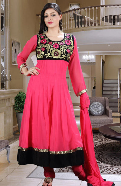 FLORAL EMBROIDERD ANARKALI SUIT