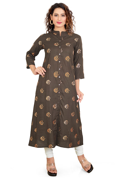 Foil Printed Straight Fit Long Kurti