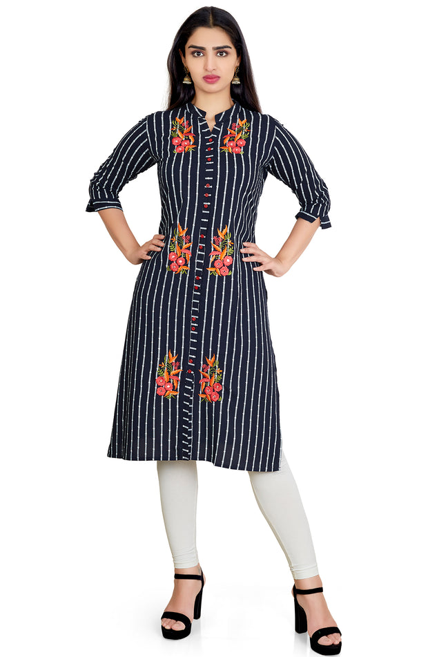 Mandarin Collar Embroidered Kurti