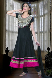 ZARI EMBROIDERED NET ANARKALI SUIT