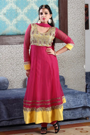 HAND EMBROIDERED NET ANARKALI SUIT