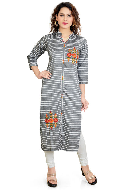 Cotton Stripe Print Embd Kurti