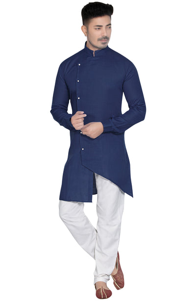 Asymmetrical Cotton Linen Kurta Pyjama