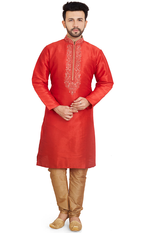 Soft Dupian Silk  Embroidered Kurta Pyjama