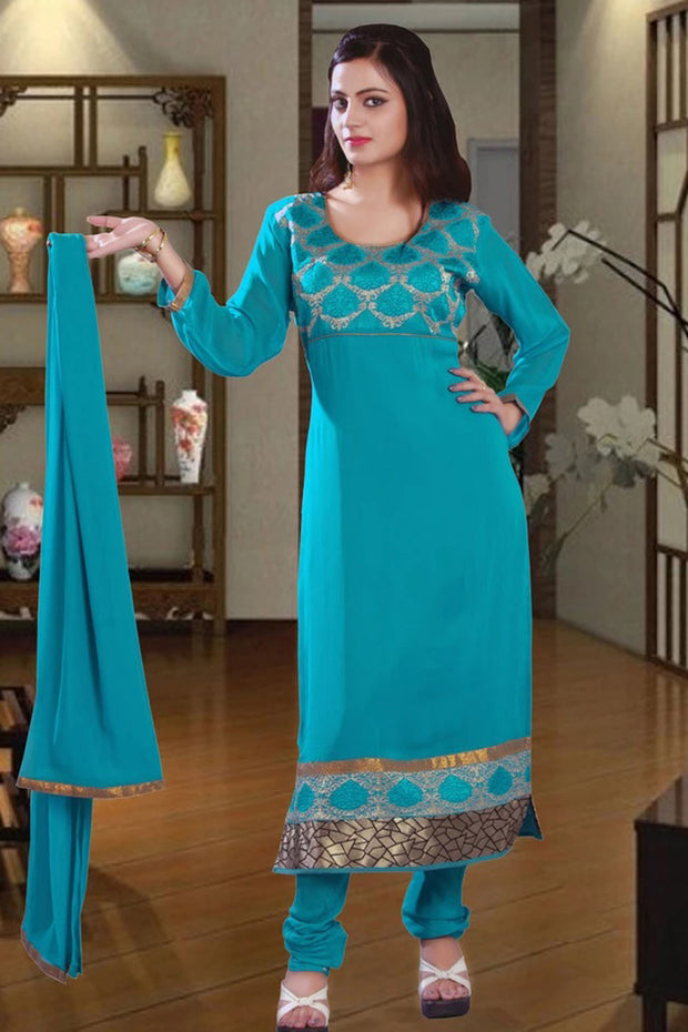 GEORGETTE EMBROIDERED CHURIDAR SUIT
