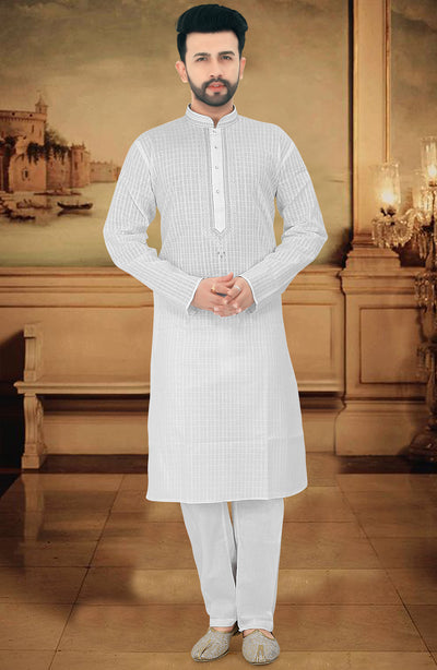 Cotton Embroidered Kurta Pyjama